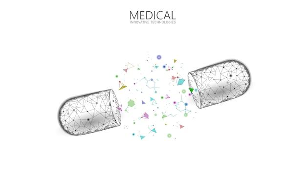 Concept d'entreprise de médecine capsule médicament ouvert. bannière bleu brillant médicament prébiotique balle probiotique soins de santé guérir la maladie. vitamine antibiotique nutrition médicale low poly illustration