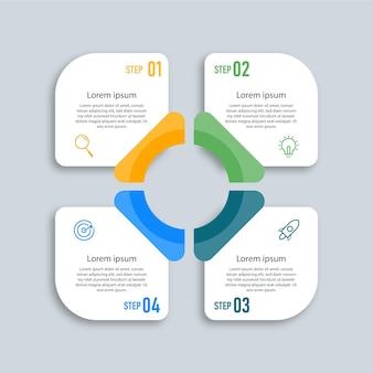 Concept d'entreprise de modèle d'étiquette de conception infographique