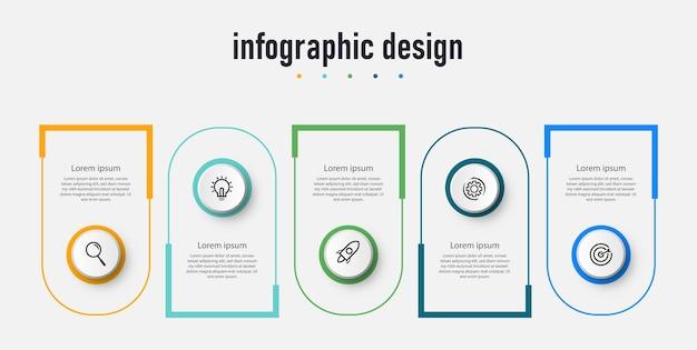 Concept d'entreprise de modèle d'étiquette infographique