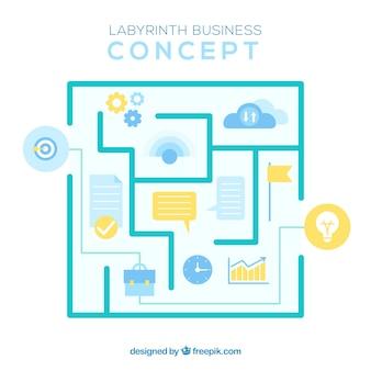 Concept d'entreprise moderne avec labyrinthe
