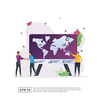 Concept d'entreprise mondiale avec la personne se serrant la main