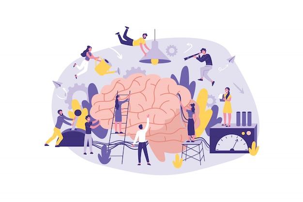 Concept d'entreprise neuromarketing, remue-méninges. groupe de commis à la recherche, à l'analyse et au soutien de l'information au bureau. travail d'équipe de gestion des hommes d'affaires