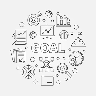 Concept d'entreprise objectif contour illustration ronde