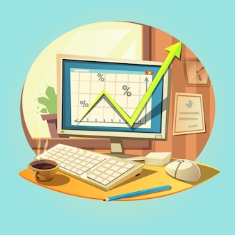Concept d'entreprise avec un ordinateur portable cartoon rétro sur le bureau