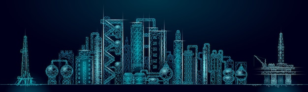 Concept d'entreprise panorama complexe de raffinerie de pétrole. usine de production pétrochimique polygonale de l'économie financière. l'industrie du carburant pétrolier s'acheminera. solution écologique bleu