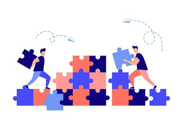 Concept d'entreprise personnes connectant des pièces de puzzle symbole du partenariat de coopération de travail d'équipe