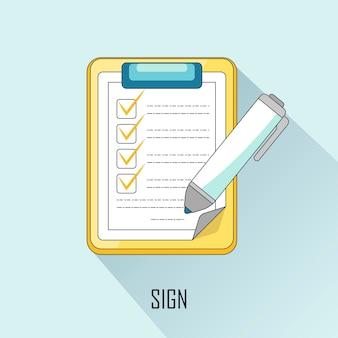 Concept d'entreprise : signature d'un contrat dans le style de ligne