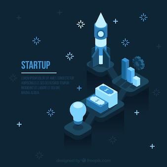 Concept d'entreprise start bleu foncé