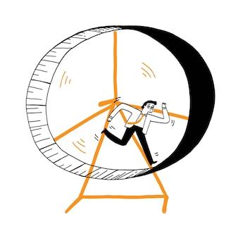 Concept d'entreprise, succès, compétition, homme d'affaires courant sur roue. illustration vectorielle style de griffonnage dessiné à la main