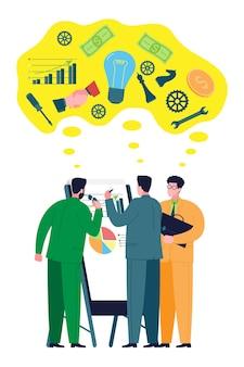Concept d'entreprise et de travail d'équipe. des collègues, des partenaires commerciaux consultent des graphiques et discutent des problèmes et des stratégies pour créer et développer une entreprise, mobiliser des financements et des ressources pour une startup.