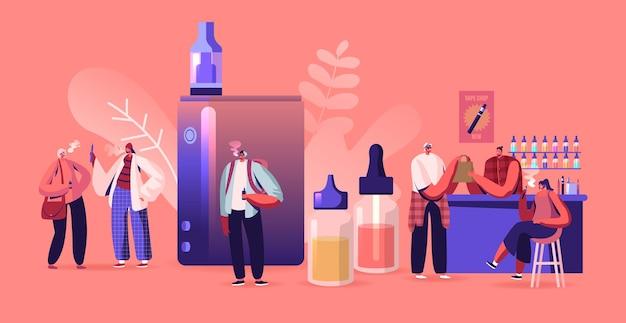 Concept d'entreprise vape shop. illustration plate de dessin animé