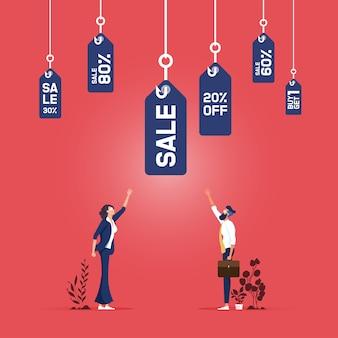 Concept d'entreprise de vente au détail d'incitation au prix