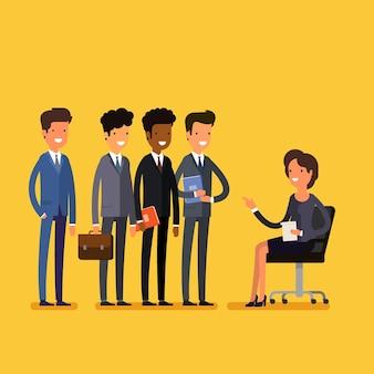 Concept d'entretien d'embauche en entreprise. homme et femme d'affaires de dessin animé. design plat, illustration vectorielle.
