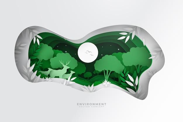 Concept environnemental avec des animaux dans la nature dans un style papier