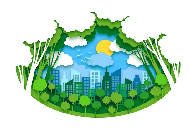 Concept environnemental dans le style du papier