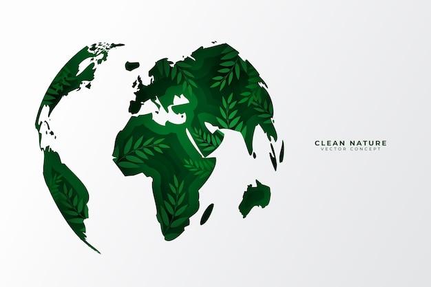 Concept environnemental dans un style papier avec monde