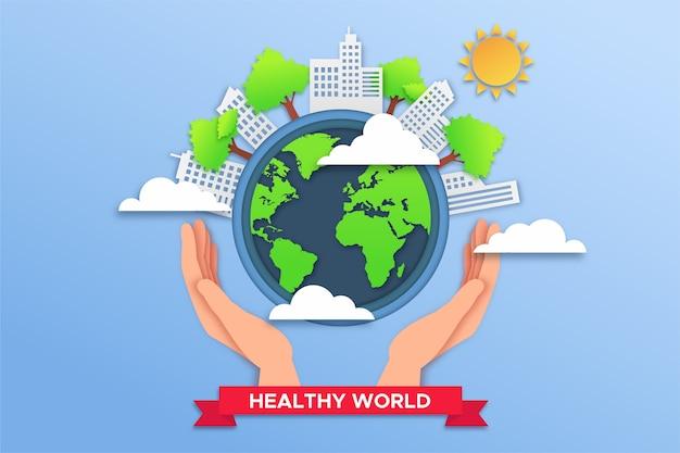 Concept environnemental dans un style papier avec de la terre