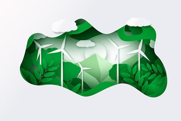 Concept environnemental dans le style de papier