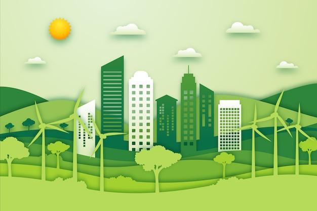 Concept environnemental de la ville dans le style du papier