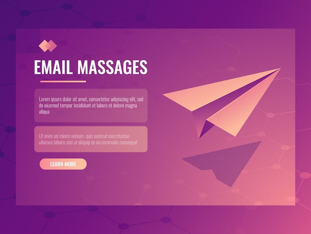 Concept d'envoi d'e-mails et de messages, petit avion en papier isométrique, bannière d'envoi