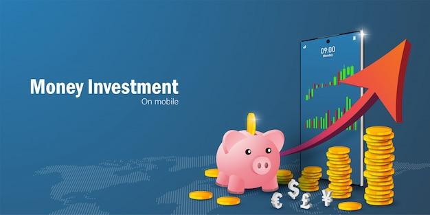 Concept d'épargne et d'investissement en argent, négociation d'actions sur smartphone et croissance des pièces avec graphique en flèche