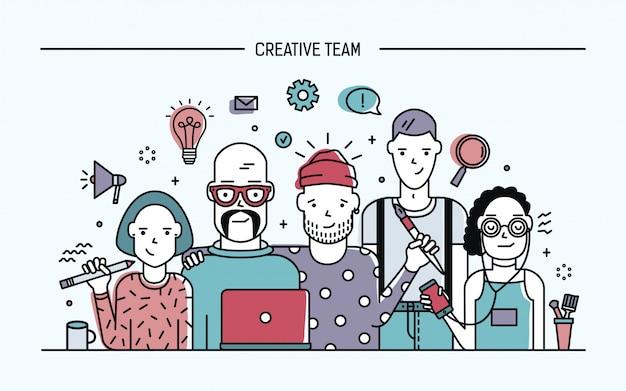 Concept d'équipe de création d'entreprise. bannière avec commande de travail d'équipe. jeunes créateurs, filles et gars cv. illustration plate colorée de lineart.