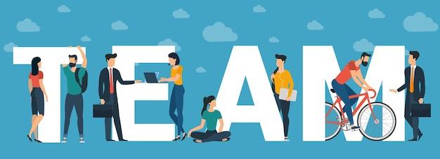 Concept d'équipe pour en-tête de site web, carte de voeux et bannière, modèle de présentation. personnages de personnes design plat avec lettres blanches