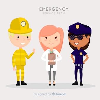 Concept d'équipe d'urgence plat