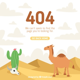 Concept d'erreur 404 avec chameau et cactus