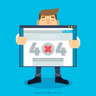 Concept d'erreur 404 avec l'homme tenant l'écran