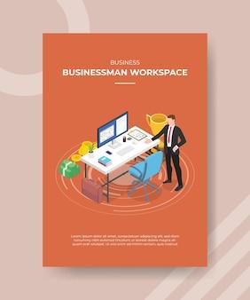 Concept d'espace de travail d'homme d'affaires