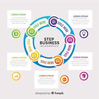 Concept d'étapes d'infographie dans un style plat