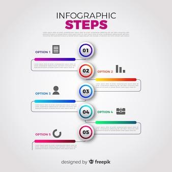 Concept d'étapes infographique dégradé coloré