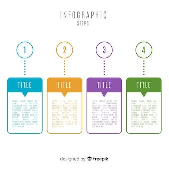 Concept d'étapes infographique plat coloré