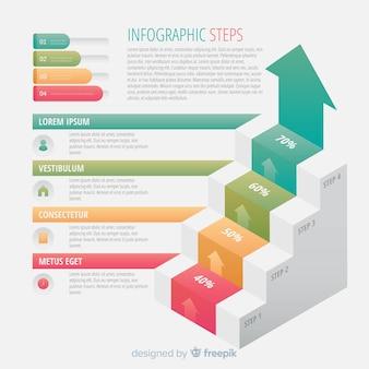 Concept d'étapes infographiques colorés