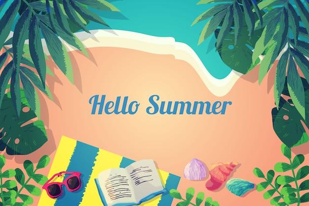 Concept d'été bonjour aquarelle