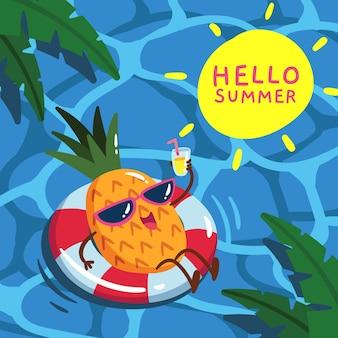 Concept d'été bonjour dessiné à la main