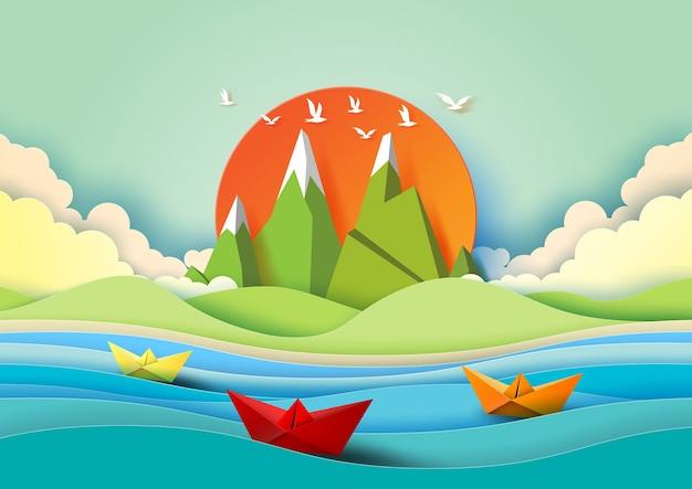 Concept de l'été avec du papier de couleur.