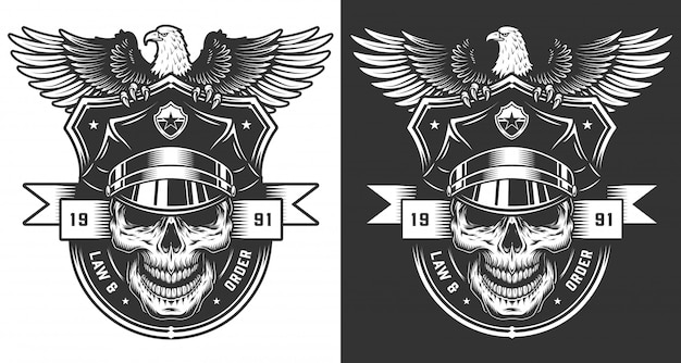 Concept d'étiquette policier vintage