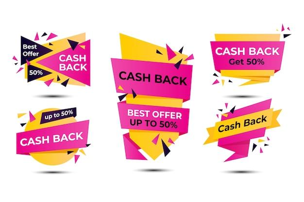 Concept d'étiquettes de cashback