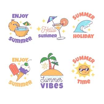 Concept d'étiquettes d'été dessiné