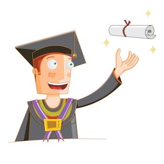 Concept d'un étudiant reçoit son diplôme