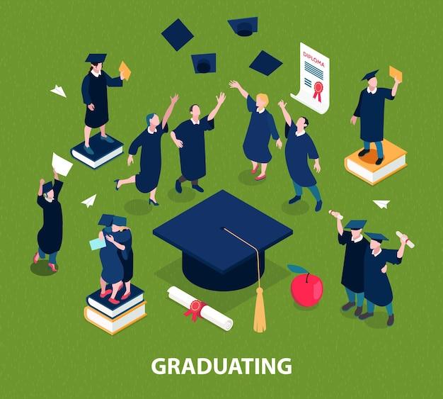 Concept d'étudiants diplômés avec symboles d'éducation isométrique isolé
