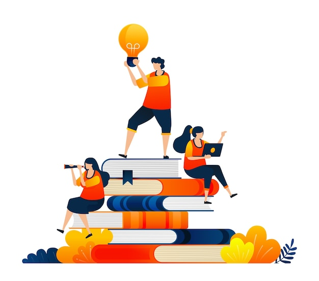 Concept d'étudiants en éducation assis sur une pile de livres idées entre les mains des étudiants
