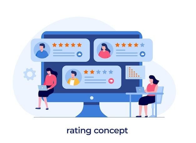 Concept d'évaluation des applications, technologie, satisfaction client, examen, interface utilisateur et ux, médias sociaux, vecteur d'illustration plat