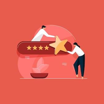 Concept d'évaluation des commentaires des clients, illustration de l'évaluation en ligne