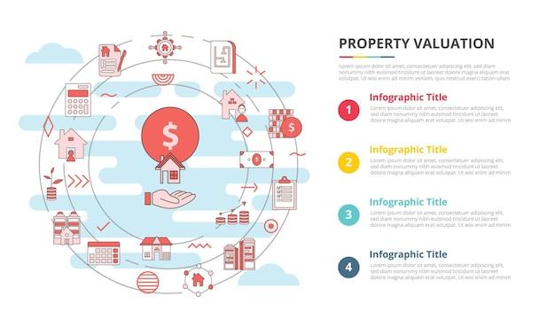 Concept d'évaluation de propriété pour la bannière de modèle d'infographie avec des informations de liste à quatre points