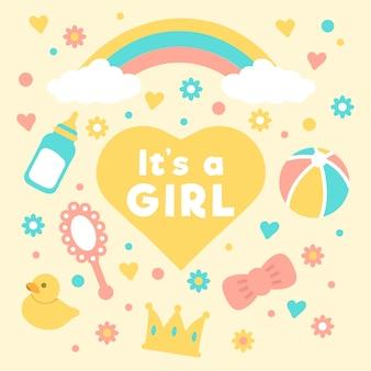 Concept d'événement de douche bébé fille