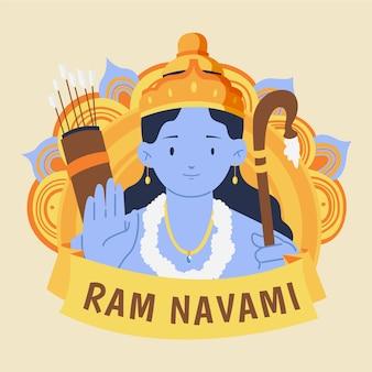 Concept d'événement ram navami dessiné à la main