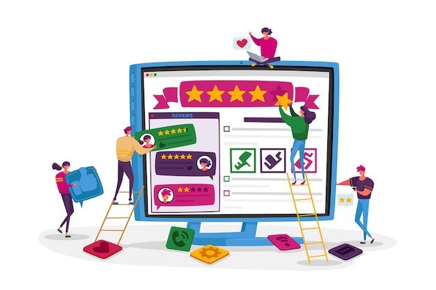 Concept d'examen, de classement et de notation des clients en ligne.